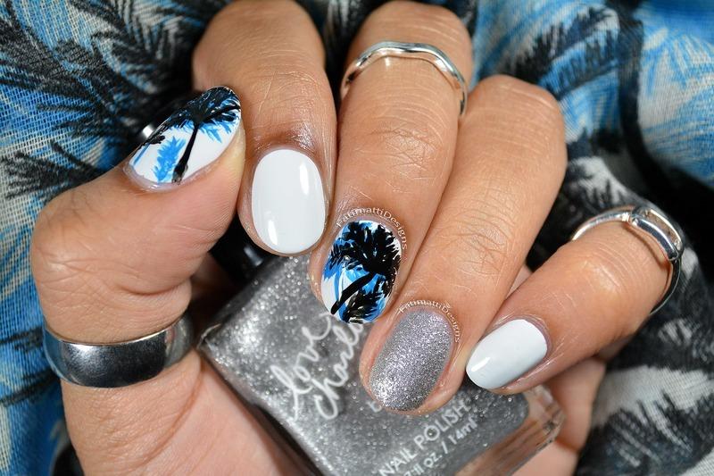 Layered Palm Trees nail art by Fatimah