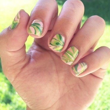 Green and pink watermarble nail art by Ashley