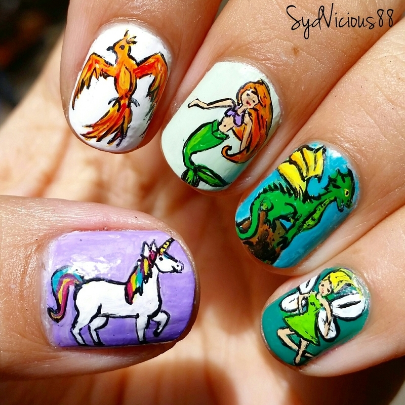 Mythical Creatures  nail art by SydVicious