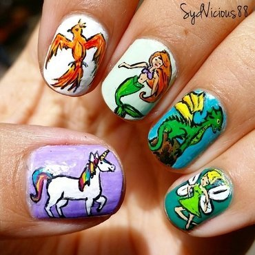 Mythical Creatures  nail art by SydVicious