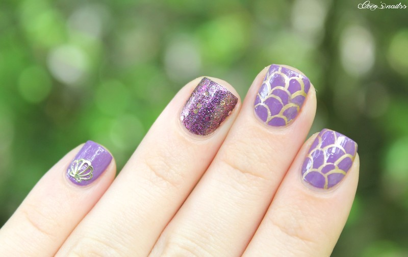 Purple mermaid nail art by Cocosnailss