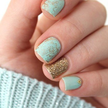 Gold & Blue nail art by Cocosnailss