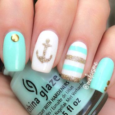 Nautical nail art by Melissa