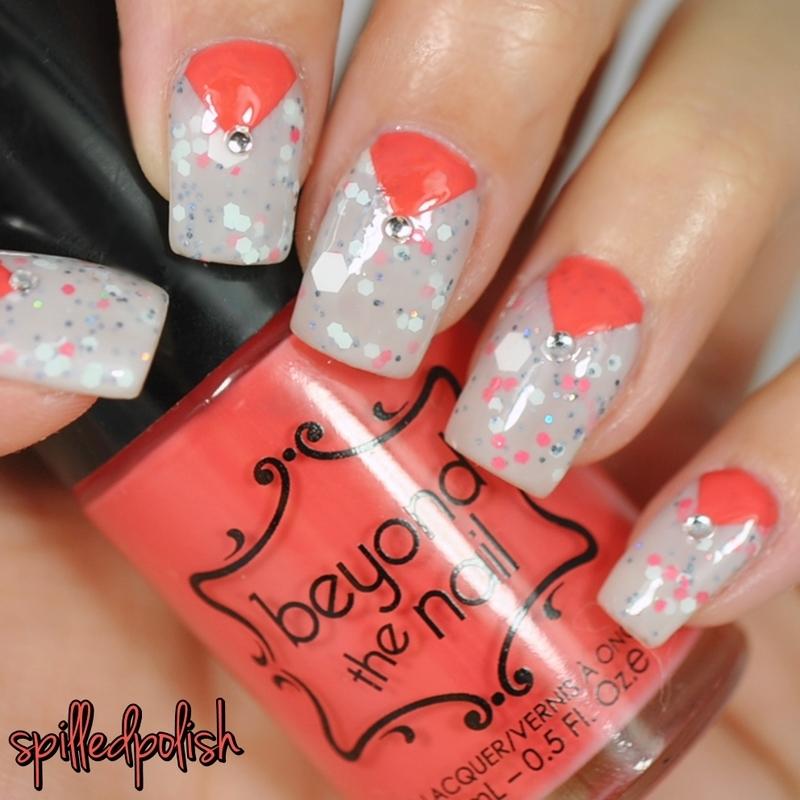 Coral & Grey Nail Art nail art by Maddy S