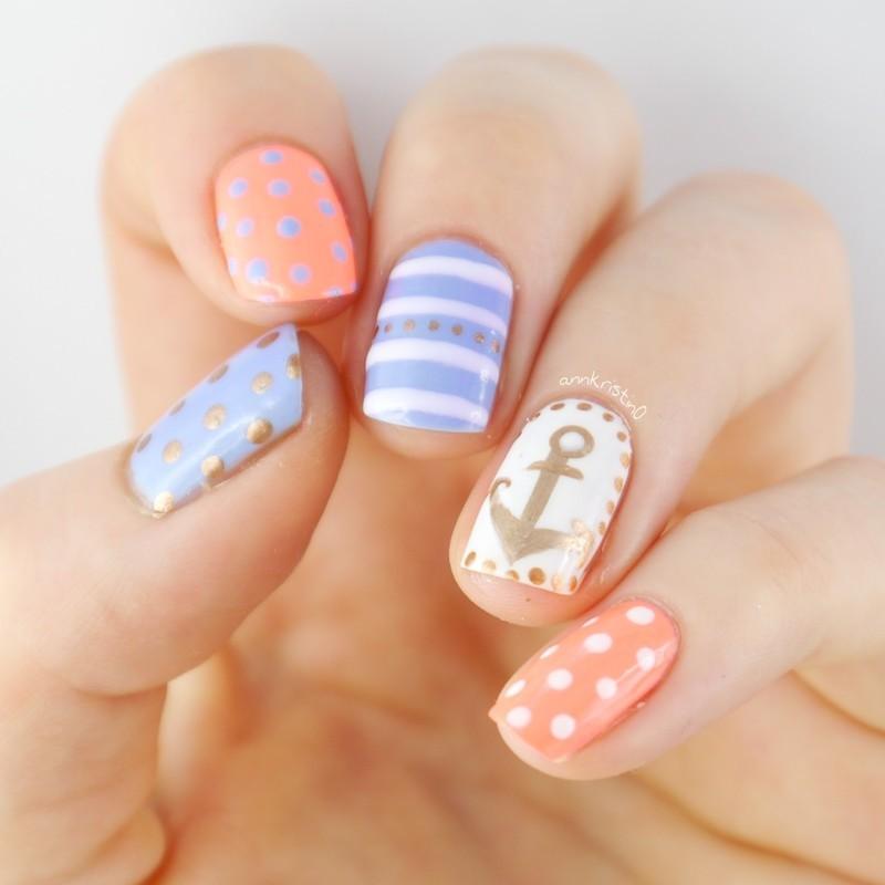Nautical Nails Coral and Blue nail art by Ann-Kristin