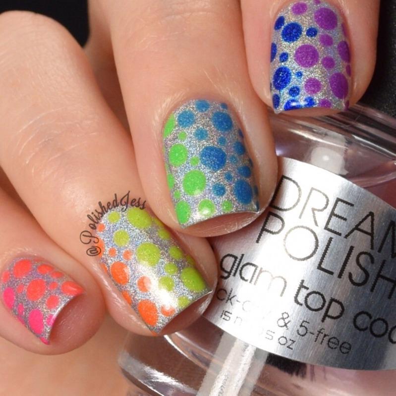 Rainbow Dots  nail art by PolishedJess
