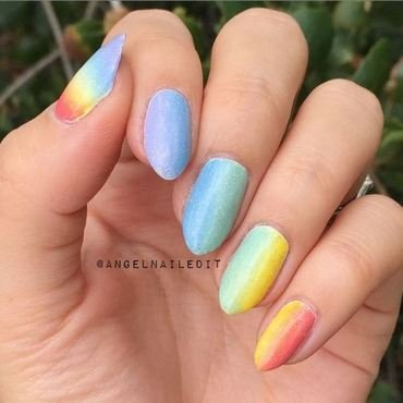 Rainbow Gradient nail art by Angel Son