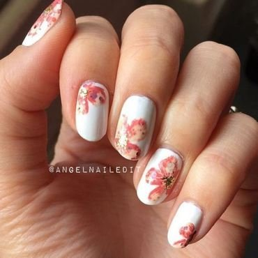 Glitter Speckled Flowers nail art by Angel Son