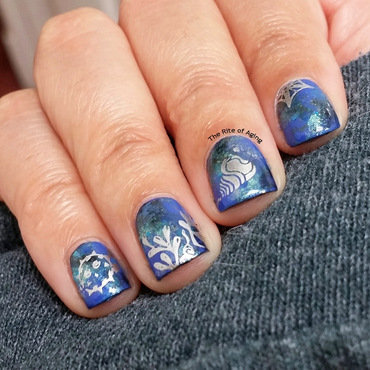 Ocean Watercolor and Stamping Nail Art nail art by Monica