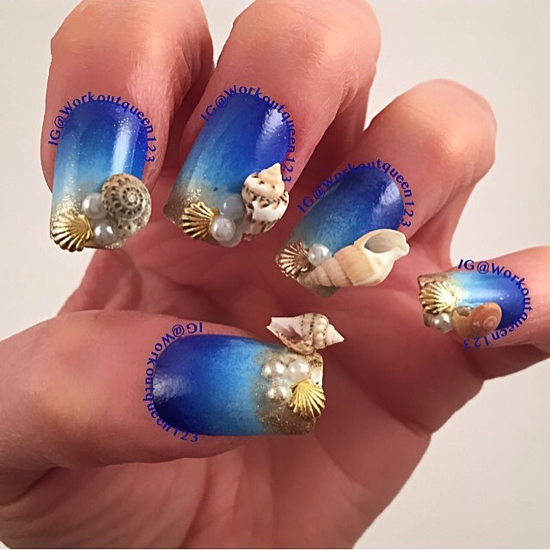 Seashells nail art by Workoutqueen123