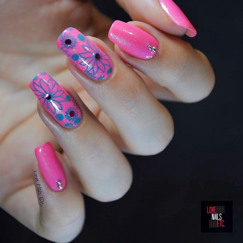 Pretty pink  nail art by Love Nails Etc