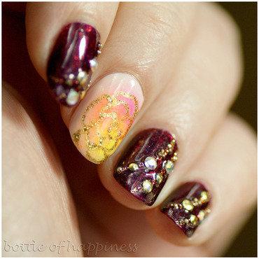 Black Orchid Meet Nudy nail art by Kasia (hatsu hinoiri)