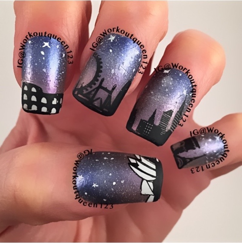 The Skyline of The World nail art by Workoutqueen123