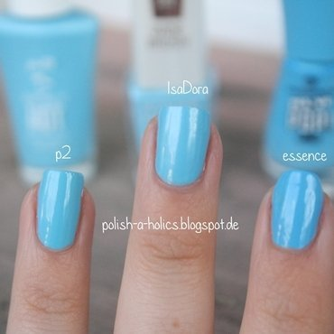 Essence Yes, We Pop! 03 hello hipsters, Isadora Aquamarine, and P2 swimming pool Swatch by katharinapeskelidou