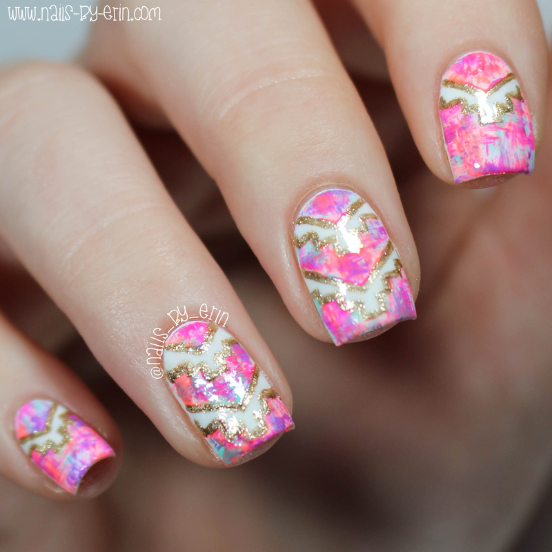 Neon Dry Brush Aztec Nails nail art by Erin