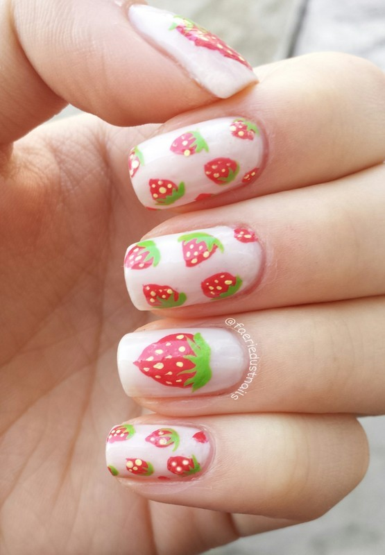 Strawberry nails nail art by Shirley X.