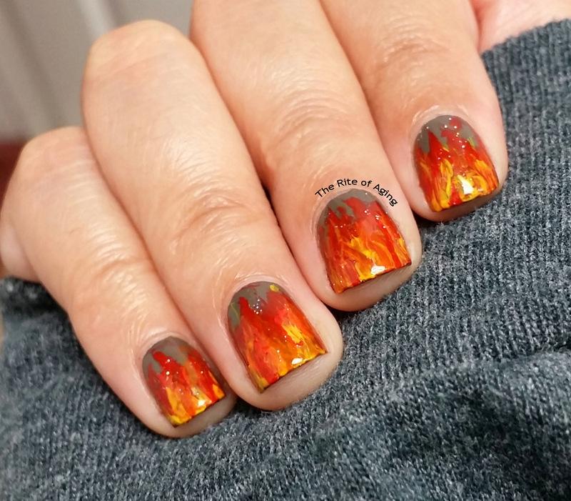 Freehand Flames Nail Art nail art by Monica