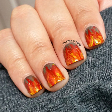 Freehand Flames Nail Art nail art by Monica