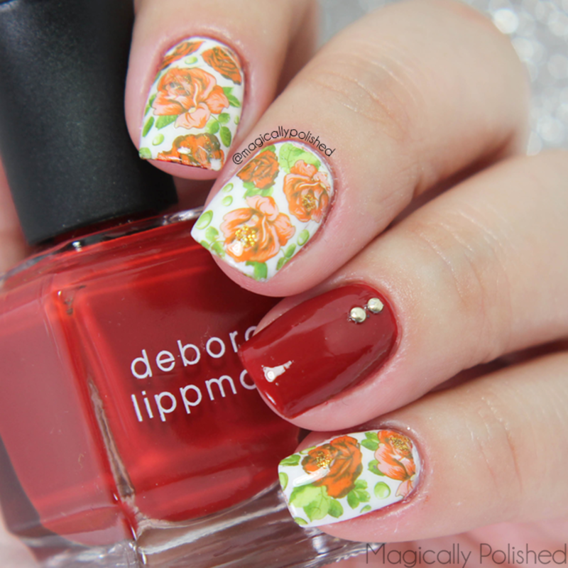 Vintage Florals nail art by Ana