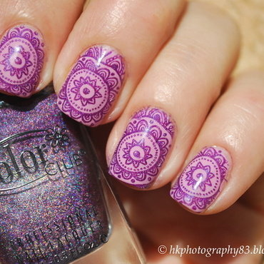 Flower lace stamping nail art nail art by Hana K.