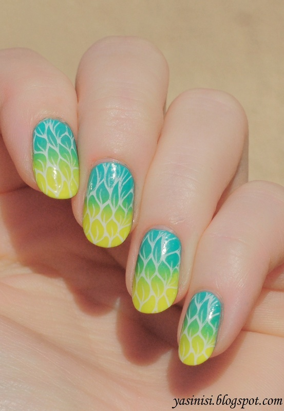 Yellow, teal and white stamp nail art by Yasinisi