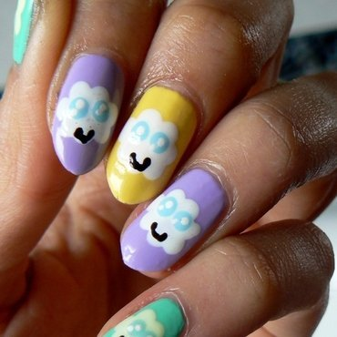 Kawai Clouds! nail art by Aysha Baig