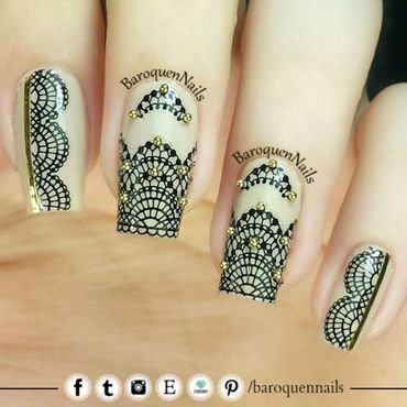 Black Lace II nail art by BaroquenNails