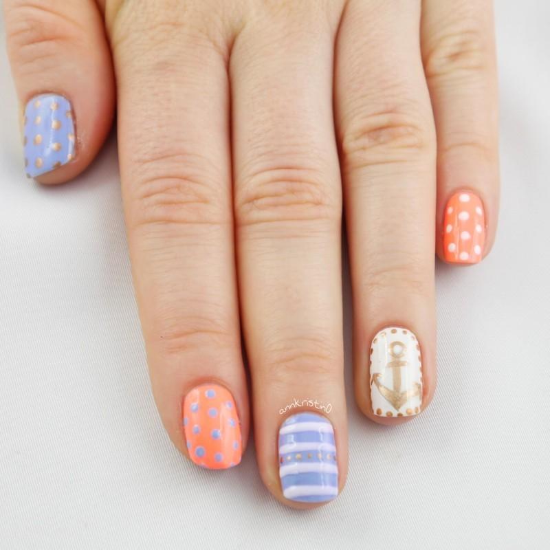 Nautical Upside Down nail art by Ann-Kristin