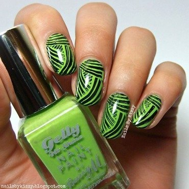 Green basket weave stamping nail art by Kizzy