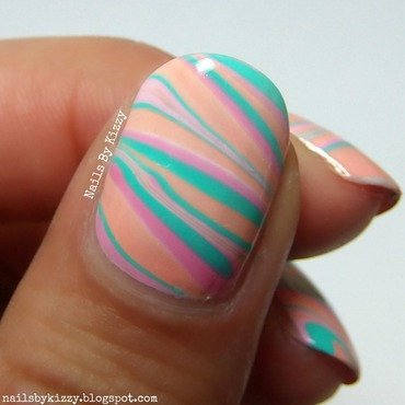 Summer water marble nails nail art by Kizzy