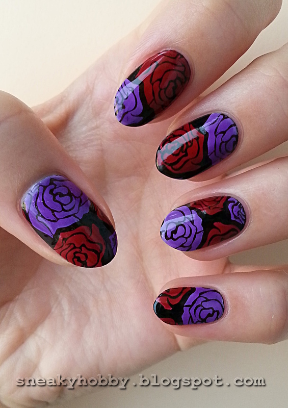 Violet Roses nail art by Mgielka M