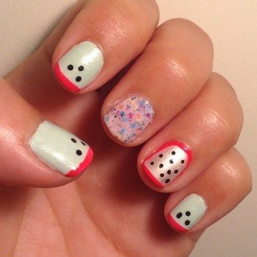 Funky Watermelon...and Dragon fruit! nail art by Idreaminpolish