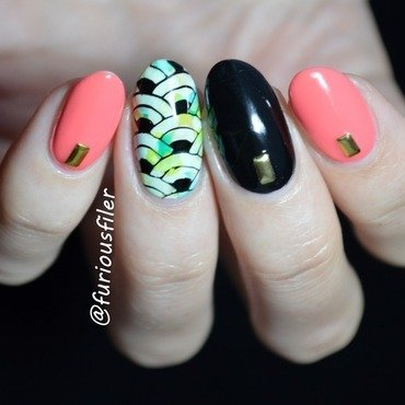 Studs and marble nail art by Furious Filer