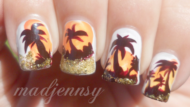 Glittery Palm Tree Nail Art nail art by madjennsy Nail Art