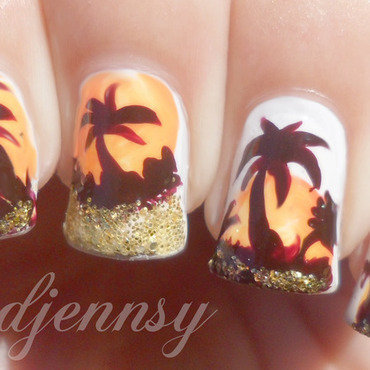 Palm tree nail art thumb370f