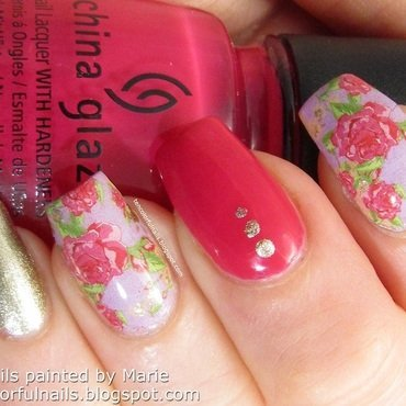 Floral Waterdecal Manicure nail art by Marie