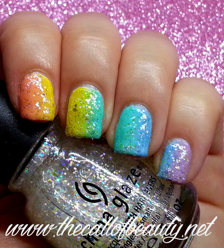 Rainbow Verical Gradient nail art by The Call of Beauty