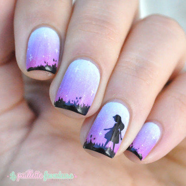 silhouette in the dusk nail art by nathalie lapaillettefrondeuse