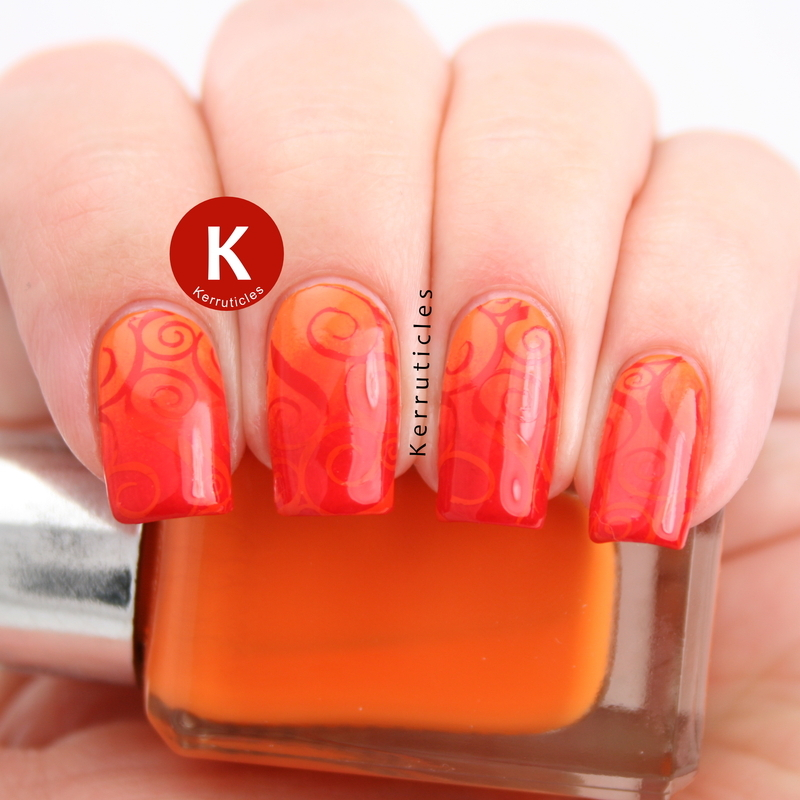 Orange and red gradient swirls nail art by Claire Kerr