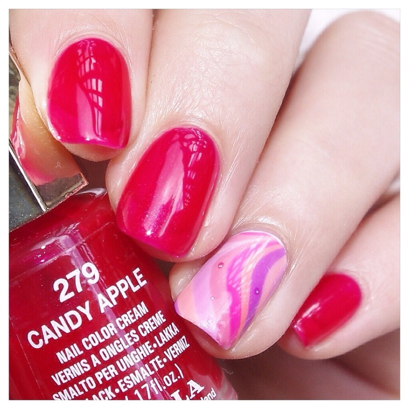 Jelly Watermarble ! nail art by Bulleuw