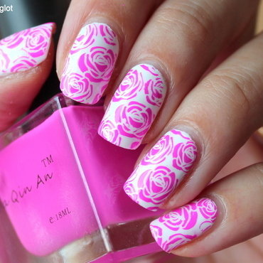 Neon pink Roses over white nail art by Polished Polyglot
