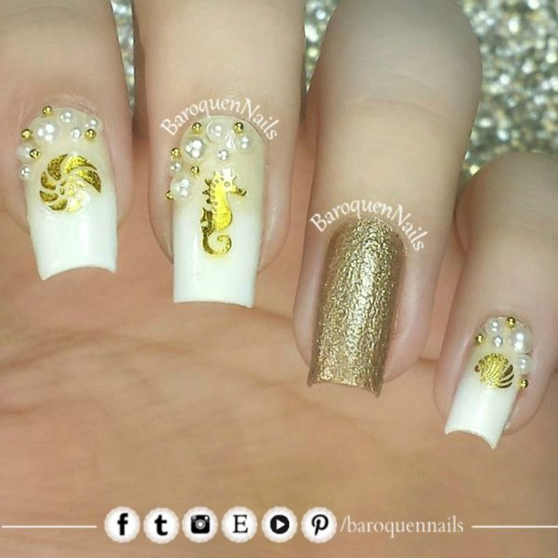 Sea Love nail art by BaroquenNails