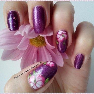 Purple flower nail art by Oana  Alexandru
