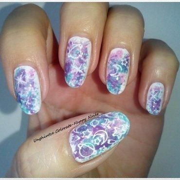 Pastel Galaxy nail art by Oana  Alexandru