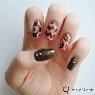 Khaki Jungle nail art by LotsOfLack