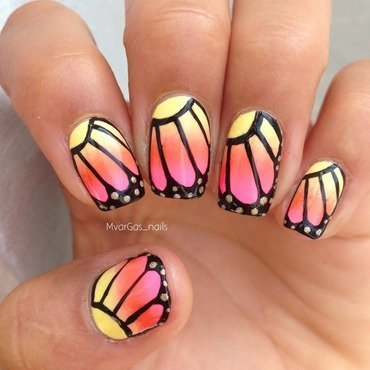 Butterfly nails nail art by Massiel Pena