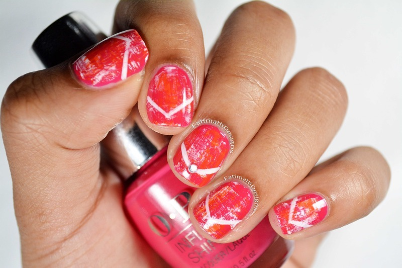 Coral and Pink Dry Brush Chevron nail art by Fatimah
