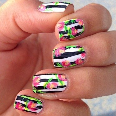 Stripes + Roses nail art by Massiel Pena