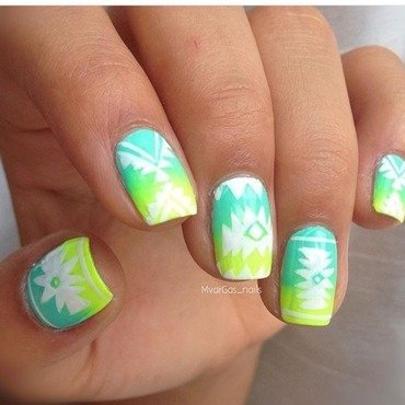 Bright tribal nail art nail art by Massiel Pena