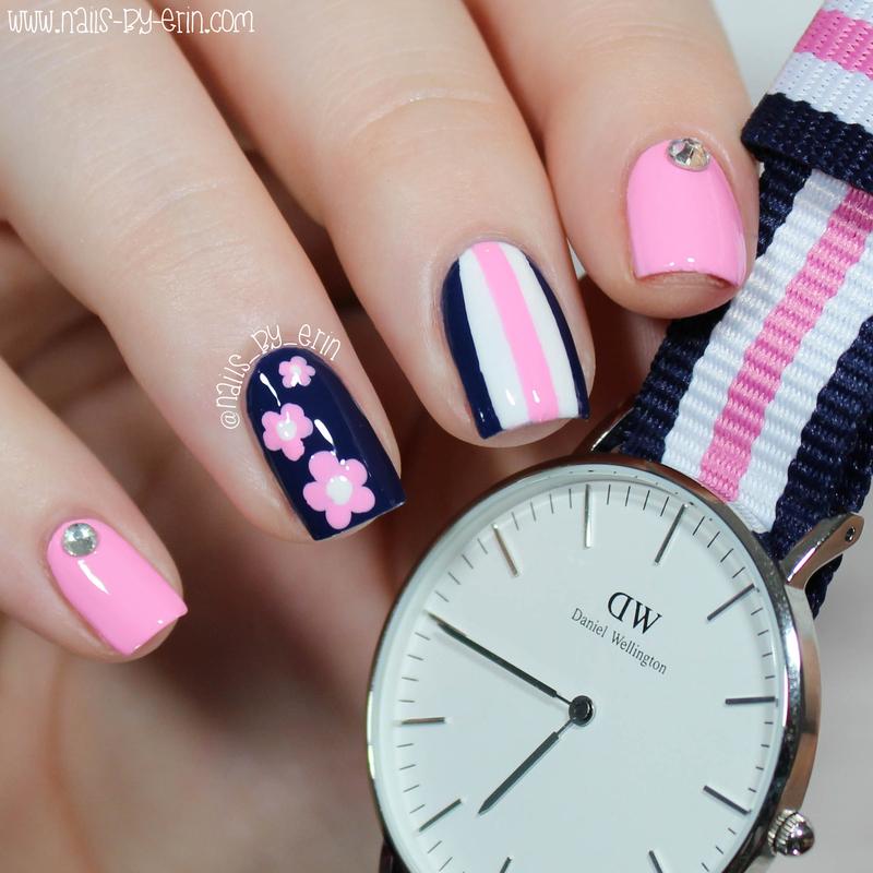 Navy And Pink Mix Match Nails Nail Art By Erin Nailpolis Museum